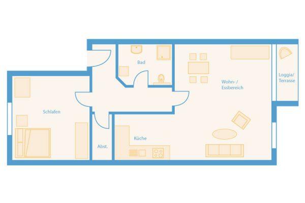 Grundriss 2-Raum-Appartements im Wohnpark Binz auf Rügen