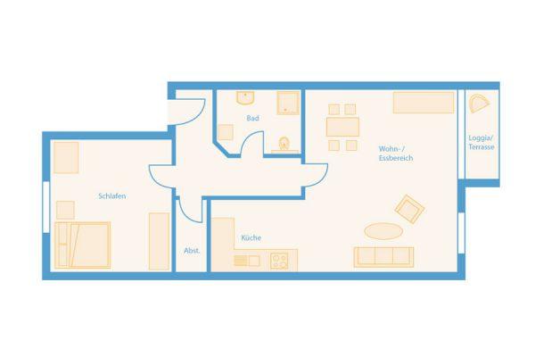 Grundriss 2-Raum-Apartment im Feriendomizil Binz auf Rügen