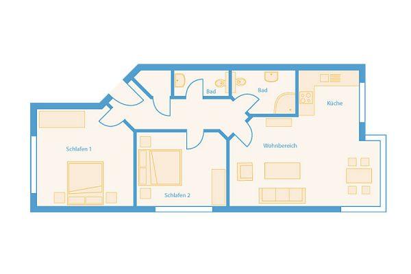 Grundriss 3-Raum-Plus-Wohnung im Feriendomizil Binz auf Rügen