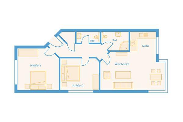 Grundriss 3-Raum-Plus-Apartment im Feriendomizil Binz auf Rügen