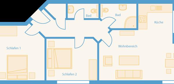 Grundriss 3-Raum-Appartement im Feriendomizil Binz auf Rügen