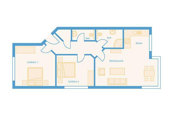 Grundriss 3-Raum-Plus-Appartement im Feriendomizil Binz auf Rügen