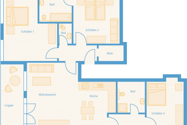 Grundriss 4-Raum-Appartement im Feriendomizil Binz auf Rügen